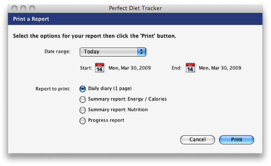 Print your diet diary and weight loss results