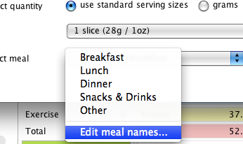 Scroll to the bottom and select 'edit meal names'