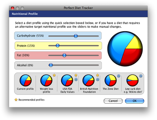 Select a pre-set nutrtional profile or create your own
