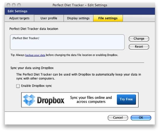 File options tab