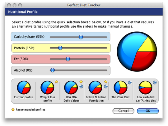 Alcohol in the new nutrtional profile diet tracker screen